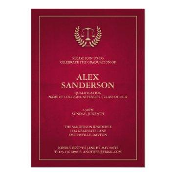 Maroon Gold Justice Scales Law School Graduation Card
