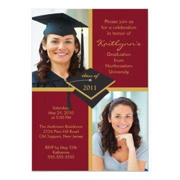 Maroon & Gold Photo Graduation Invitation