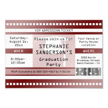 Maroon Graduation or Party Admission Ticket Card
