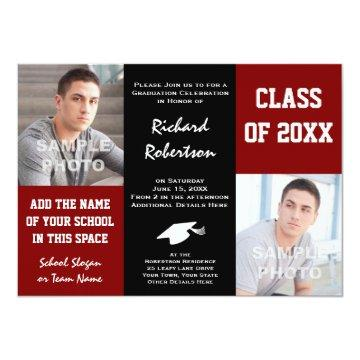 Maroon Red   Black School Colors Photo Graduation Card