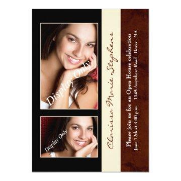 Maroon with Black and Beige Photo Graduation Party Card