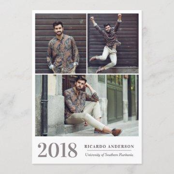 Masculine Garage Door College Photo Graduation Announcement