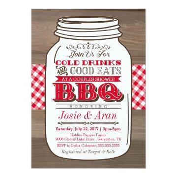 Mason Jar BBQ Invitation, Couples Shower on Wood Invitation