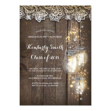 Mason Jar Lights and Lace Rustic Graduation Party Invitation