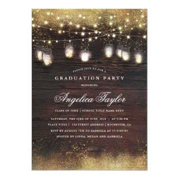 Mason Jar Lights and Rustic Wood Graduation Party Card