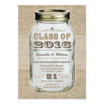Mason Jar Rustic Vintage Look 2016 Graduation Card
