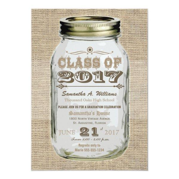Mason Jar Rustic Vintage Look 2017 Graduation Card