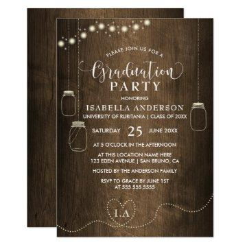Mason Jars String Lights Rustic Wood Graduation Card