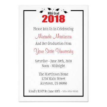 MBA Grad 2018 Graduation Invite (Red Caps)