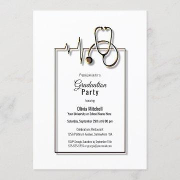 Medical Nurse Doctor Stethoscope Graduation Party Invitation