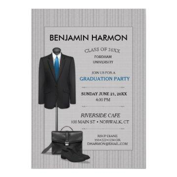 Men's Suit Pinstripe Masculine Business Graduation Card