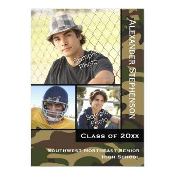 Military Camo Green 3 Photo Graduation Card