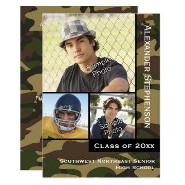 Military Camo Green 3 Photo Graduation Invitation