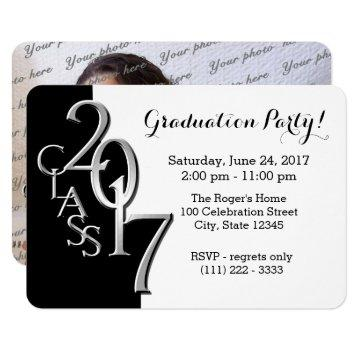 Mini Class of 2017 Black and Silver Invitation