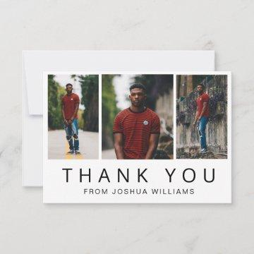 Minimalist Three Photo Collage Guy Graduation Thank You Card