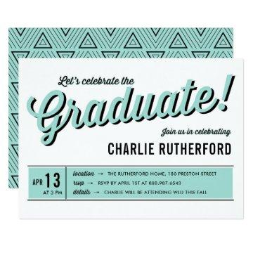 Mint Blue Diner Retro Typography Graduation Party Card