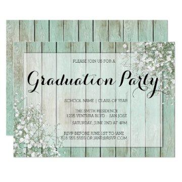 MINT GREEN BABY'S BREATH GRADUATION PARTY INVITATION
