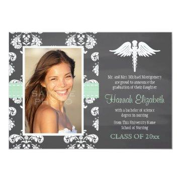 Mint Green Chalkboard Nursing School Graduation Invitation