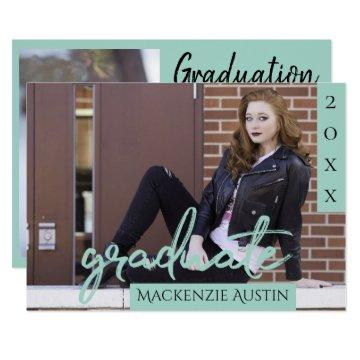 Mint Green Graduate | Playful Sage Script Photo Invitation