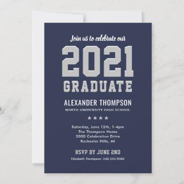 Modern 2021 Graduate Navy Gray Graduation Party Invitation