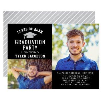 Modern Black and Silver 2021 Photo Graduate Party Invitation