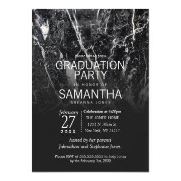 Modern Black and White Marble Graduation Party Card