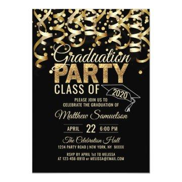 Modern Black Gold Glitter GRADUATION Party Invitation