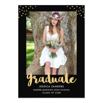 Modern Black Gold Photo Graduation Party Invitation