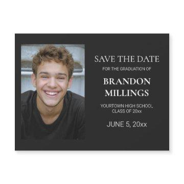 Modern Black Photo Graduation Save Date