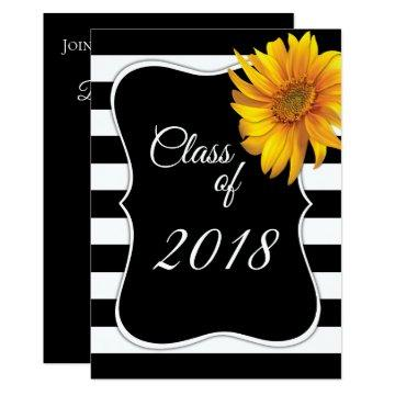 Modern BlackWhite Stripe Sunflower 2018 Graduation
