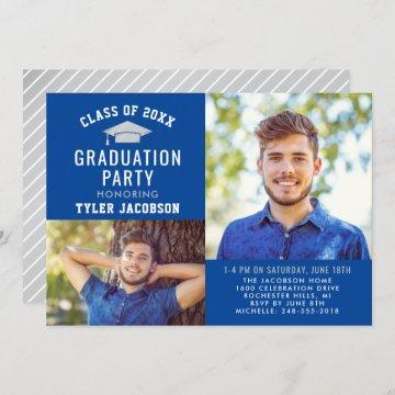 Modern Blue and Silver 2021 Photo Graduate Party Invitation