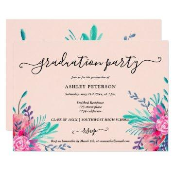 Modern blush pink floral watercolor graduation