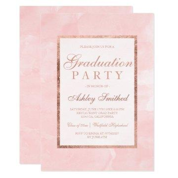 Modern blush pink watercolor chic Graduation party Card