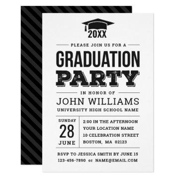 Modern Bold Black and White Graduation Party Invitation