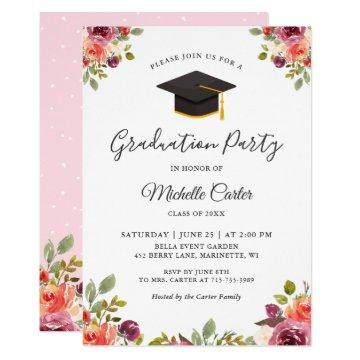 Modern Botanical Floral Girl Grad Graduation Party
