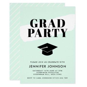 Modern Brush Stroke Typographic Graduation Party Invitation