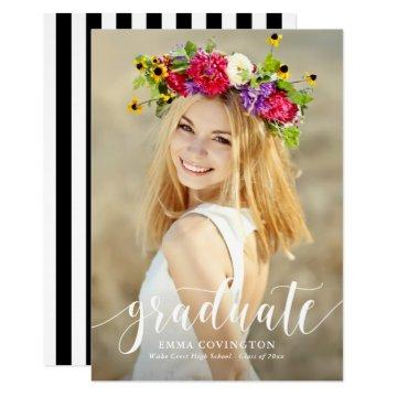 Modern Calligraphy Photo Graduation Invitation III