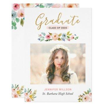 Modern Chic Floral Gold Graduate Graduation Party