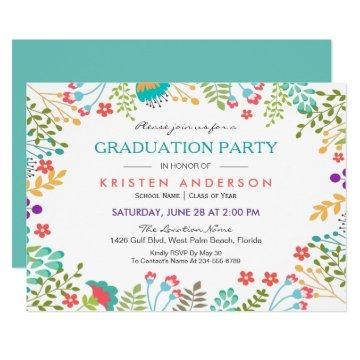 Modern Chic Fresh Floral 2019 Graduation Party Invitation