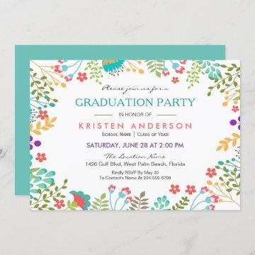 Modern Chic Fresh Floral 2021 Graduation Party Invitation