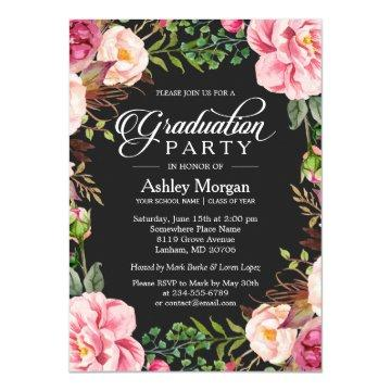 Modern Classy Typography Floral Graduation Party