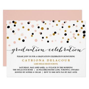 Modern Confetti Dots | Blush and Gold Graduation Invitation