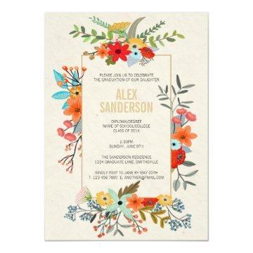Modern Floral and Gold Border Graduation Party