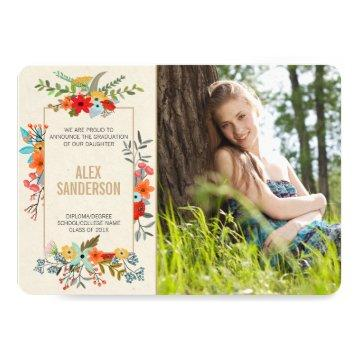 Modern Floral and Gold Border Graduation Photocard Card