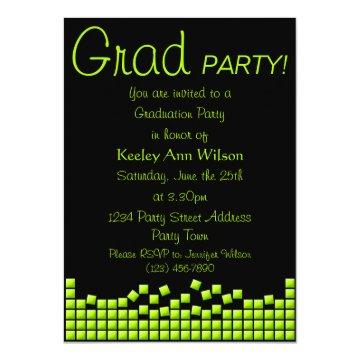 Modern, Funky Lime Green Mosaic Graduation Party Card