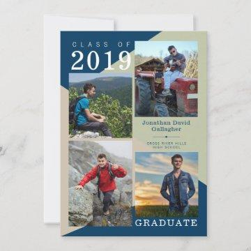 Modern Geometric Photo Blue Green Beige Graduation Announcement