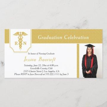 Modern Gold and White Photo Nursing Graduation Announcement