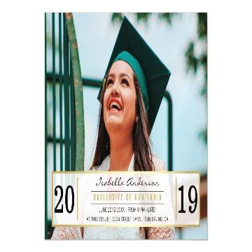 Modern Gold Black & White Graduation Party | Photo Magnetic Card