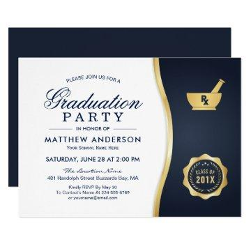 Modern Gold Blue Pharmacy School Graduation Party Invitation