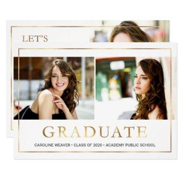 Modern Gold Frame Photo Collage Graduation Party Invitation
